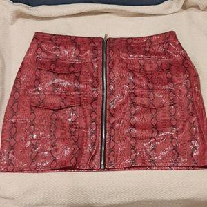 Snakeskin Pink Mini Skirt